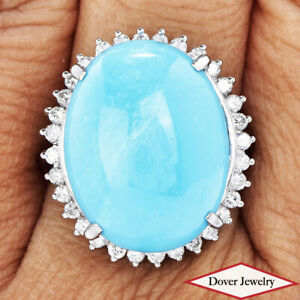 GIA Diamond 21.70ct Turquoise Platinum Large Oval Halo Cocktail Ring 16.7 Gr NR
