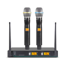 Pro Audio Wireless Microphone System Uhf 2 Channel Handheld Dynamic Mic Karaoke