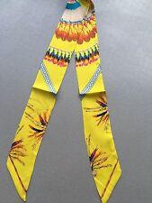 The Brazilian Feather Print Pony Tail Scarf, Yellow Theme -- 100%  Silk Twill