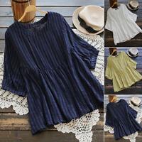 ZANZEA Women Summer Blouse Tee T Shirt Loose Baggy Pullover Plus Size Ladies Top