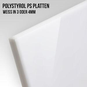 Polystyrol PS Platte Weiß 3 - 4mm Plattenstärke Modellbau Zuschnitt