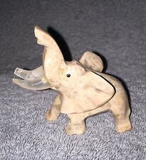 CARVED MARBLE ELEPHANT FIGURINE, WITH TRUNK UP,  LIGHT GREY MARBLE