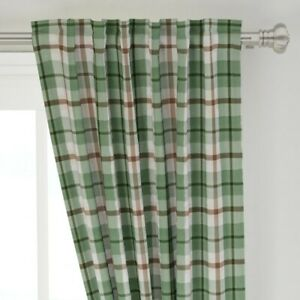 """Watercolor Plaid Tartan Classic Farmhouse 50"""" Wide Curtain Panel by Roostery"""