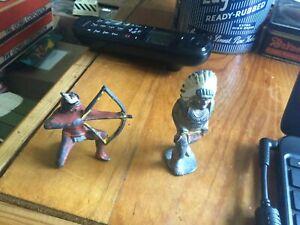 2x vintage cast iron Indian figures