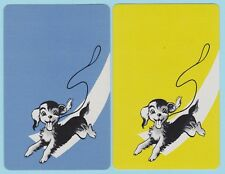 2 Single VINTAGE Swap/Playing Cards DOGS PUP DOG RUNNING + LEAD Blue/Chartreuse