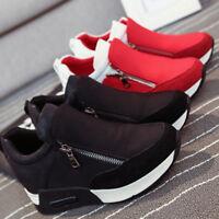 2 Colors Fashion Casual Women Sneakers Zip Wedge Hidden Heel Running Sport Shoes