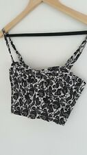 Perfect Topshop Boned Black White Floral Sweetheart Zip Corset Summer Top Size 8