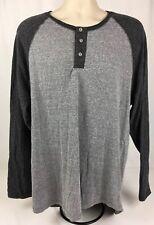 Foot Locker Athletic Fit Men's 2XL Long Sleeve 3 Button T-Shirt Light/Dark Gray
