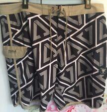 Vissla Calipher Boardshorts Mens Size 36 Black Grey Tan Stretch Swim Shorts