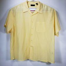 Diamante Short Sleeve Shirt Yellow Ribbed Texture Sheer 4XL Polyester