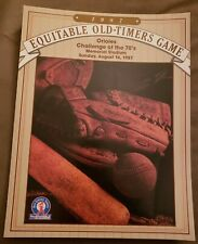 BALTIMORE ORIOLES 1987 EQUITABLE OLD TIMERS GAME SCORECARD
