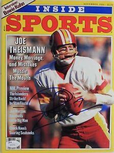 Joe Theismann Redskins Notre Dame AUTOGRAPH 1984 Inside Sports Magazine JSA 16A