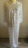 Vintage Christian Dior Lace Full Floral Night Gown Dress Sz. Small