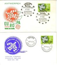 EUROPA 1961 IRELAND FRANCE ITALY GERMANY SPAIN PORTUGAL BELGIUM ETC 28 DIFF FDC