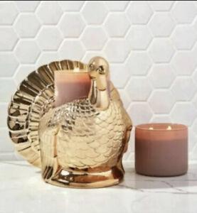 Bath & Body Works Gold Turkey 3 Wick Pedestal Candle Holder~Thanksgiving 2021