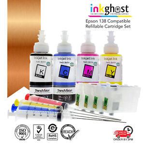 Inkghost 138 140 Refillable Cartridge Set for Epson WF3530 WF3540 WF3520 NON OEM