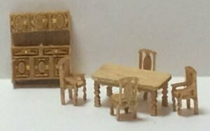 Dollhouse Miniature 1:144 Scale Country Dining Room Furniture Kit (6 Pc)