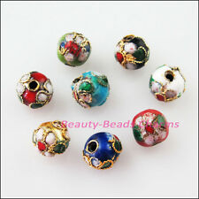 8 New Charms Mixed Enamel Cloisonne Round Ball Accessories Spacer Beads 6mm