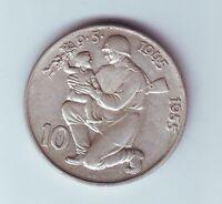 1955 Czechoslovakia 10 Korun Silver Coin O-958