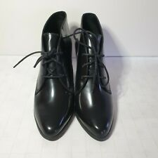 Clarks Women's 5.5/ EU 39 Black Leather Wide Fit Lace Up Heeled Boots Shoes New
