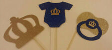 ROYAL LITTLE PRINCE 1ST BIRTHDAY OR BABY SHOWER CENTERPIECE TOPPERS TABLE DECOR