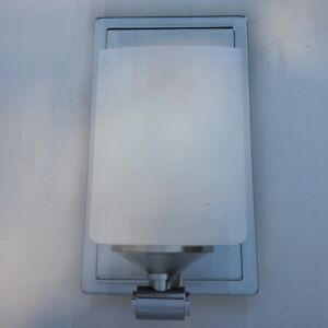 Hampton Bay 1-Light Brushed Nickel Wall Sconce with Frosted Opal Glass Shade