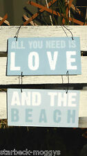 HANGING VINTAGE 2 SECTION SIGN OR PLAQUE ALL YOU NEED IS LOVE AND THE BEACH