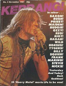 KERRANG! #5 NOV 1981: IRON MAIDEN Stevie Nicks RUSH Saxon JIMMY BAIN Pallas