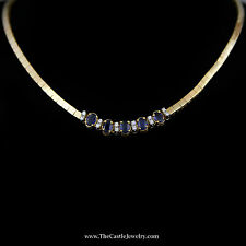 Sapphire and Round Brilliant Cut Diamond Necklace on Polished Flat Link Chain
