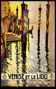 Venice  Italy  Vintage art painting Travel Poster Print For Glass Frame 90cm