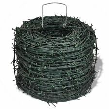 328 FT  Barbed Wire Green Iron Barbwire Home Garden Patio Fencing Wires Fence US