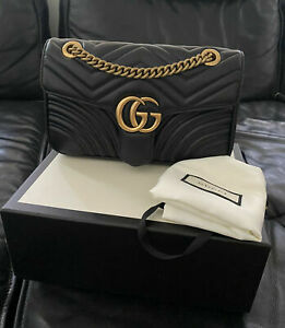 Gucci Authentic Crossbody Marmont Calfskin Matelasse Small Black Leather Shoulde