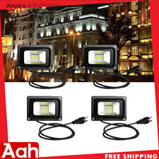 4pcs 10W LED Flood Light Warm White with US Plug 110V Outdoor Waterproof