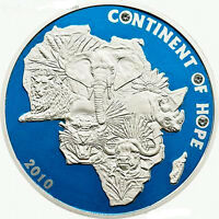 Ivory Coast 2010 African Animal Big Five 1000 Francs Silver Coin,Proof