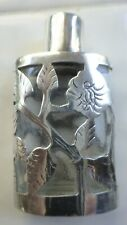 Sterling Silver Overlay Floral Etched Glass Perfume Bottle Cuernavaca Mexico Vtg
