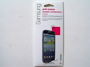 T-Mobile 2 Anti-Smear Screen Protectors for Samsung Galaxy S3 III SUPA38525 NEW