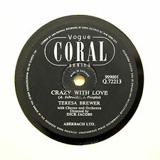 """TERESA BREWER """"Crazy With Love / The Moon Is On Fire"""" VOGUE CORAL [78 RPM]"""