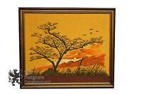 "Vintage Needle Point Framed Sunset Artwork Handmade Realism Southwestern 26"""