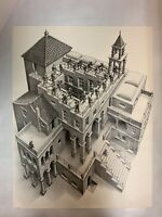 "MC Escher Acending And Descending Vintage Reprint 22"" X 17"""