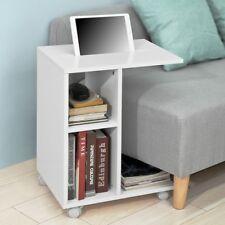 SoBuy Rolling White Sofa Side End Table with iPad Holder Shelf,FBT48-W,UK