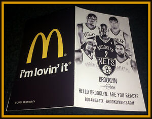 2013-14 BROOKLYN NETS MCDONALDS BASKETBALL POCKET SCHEDULE EX+NM CONDITION