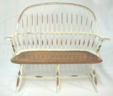 Doll Furniture Windsor Style Love Seat Chair White Paint Natural Primitive Chic