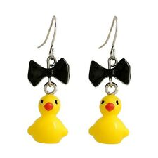 Kawaii Small Yellow Duck with Black Bow Dangle Earrings Personalized Accessories