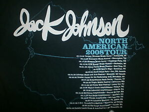 JACK JOHNSON CONCERT T SHIRT Sleep Through Static Tour 2008 2-Sided Cities Dates