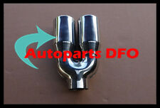 """2.3"""" inlet Stainless steel double round 3"""" outlet resonated Exhaust Muffler Tip"""