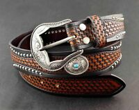 Western Cowboy Vintage Biker Tooled Turquoise Genuine Leather Belt For Mens