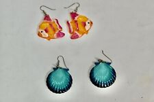 Set of two Acrylic Whimsical Fish and Seashell Earrings