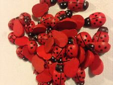 100 x mini wood LADYBIRDS LADYBUGS tiny wooden craft card toppers embellishments