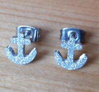 1 Paar Ohrringe Anker Ohrstecker maritim Rockabilly See Matrose silber Schiff