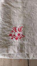 VINTAGE Italian canapa lino foglio monogramme con ciliegie Lavato W202cm x L232cm